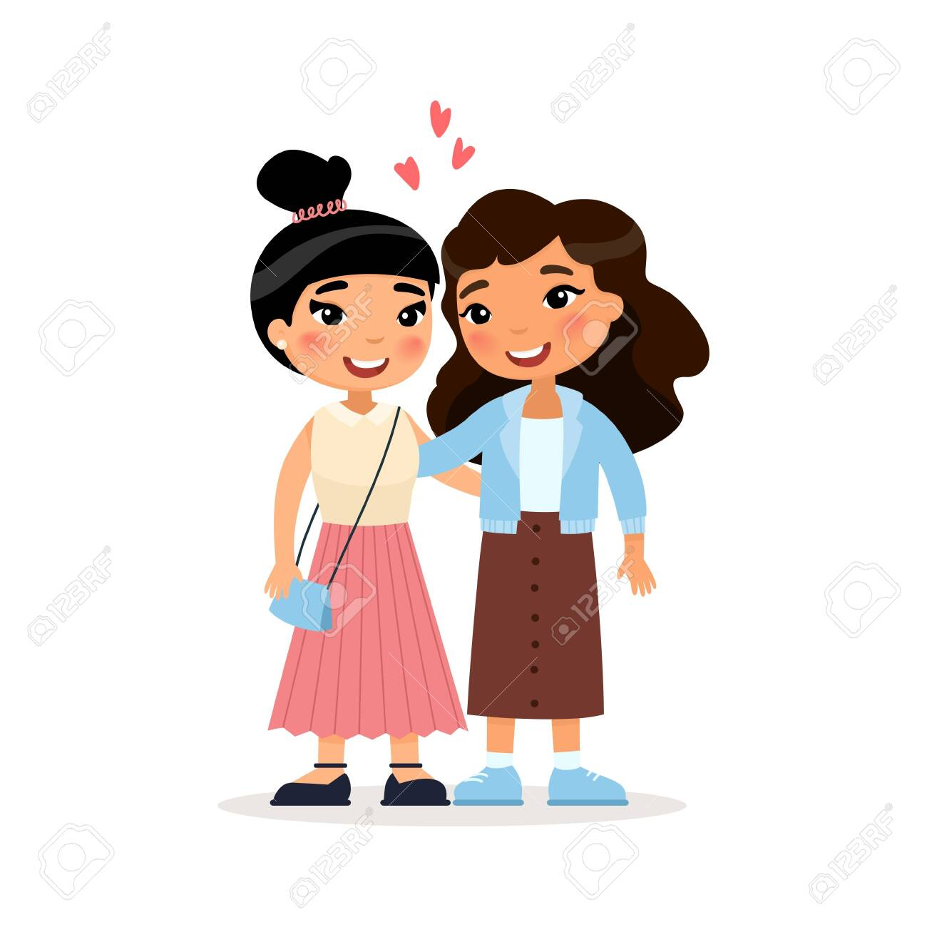 Two Asian young girls friends or couple hugging. Funny cartoon character. Vector illustration. Isolated on white background - 126876936