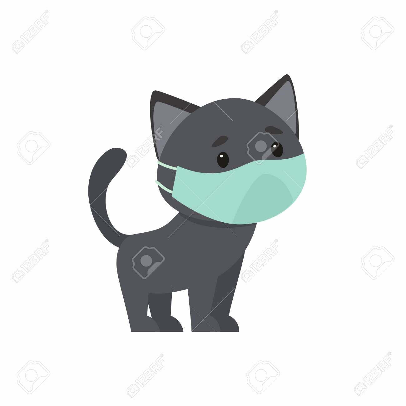 Black kitten with a protective mask on his face. The concept of protection against respiratory diseases, allergies. Vector illustration on a white background. - 141112787
