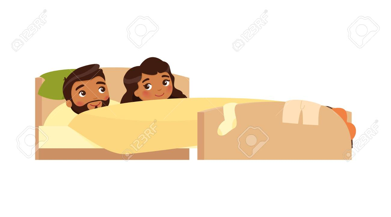 Indian young couple smiling in bed. Clothes are scattered. Satisfied man and woman. Happy married couple. Sexual relations concept . Colorful vector illustration in flat cartoon style. - 153214203