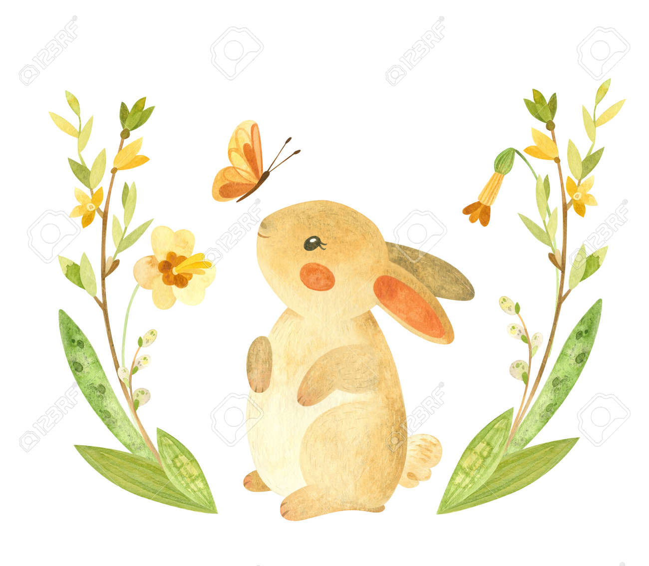Cute Easter Bunny with butterfly and flower wreath. Easter or children's themed birthday card template with a rabbit and spring flowers. Watercolor clipart for cards, posters, banners - 164126819