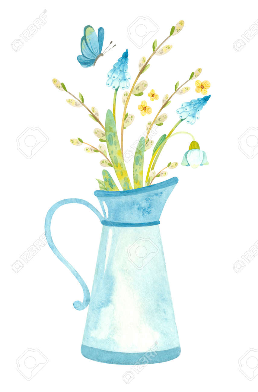 Blue jug with spring flowers, pussy willow and butterfly.Themed template for Easter cards, posters, banners. Watercolor clipart on white background - 164126821