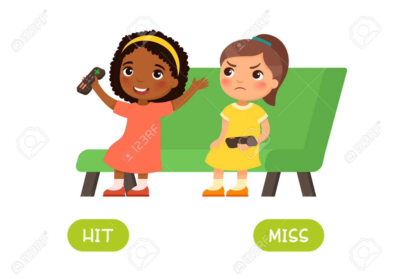 Hit and miss antonyms word card, Opposites concept. Flashcard for english language learning. Little African girl won a computer game and is happy, another European child is unhappy about losing - 164126838