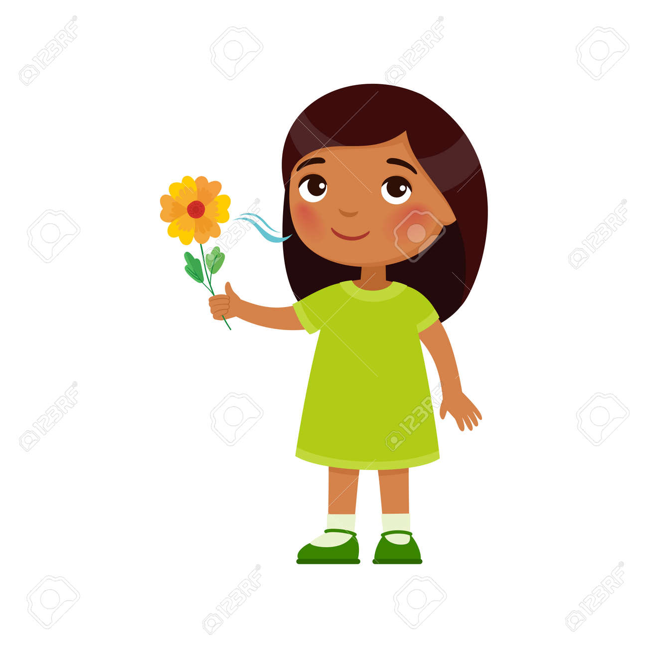 Indian little girl like the pleasant smell from a flower. Fragrance concept. Expression of emotion on the face of a dark skin child. Cartoon character - 170055934