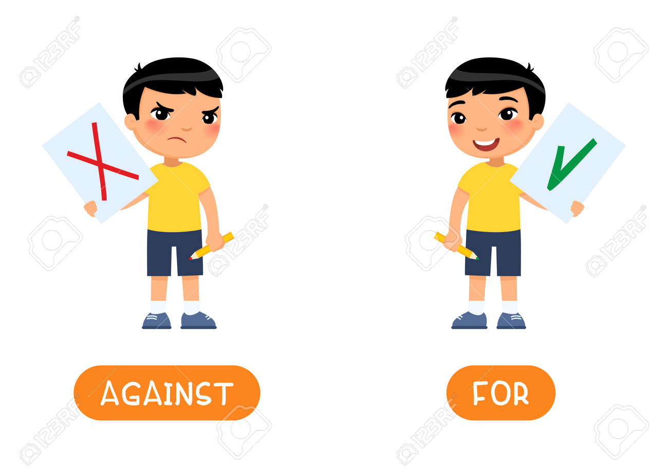 Against and for antonyms word card, Opposites concept. Flashcard for english language learning. Disgruntled and joyful Asian boy - 170487282