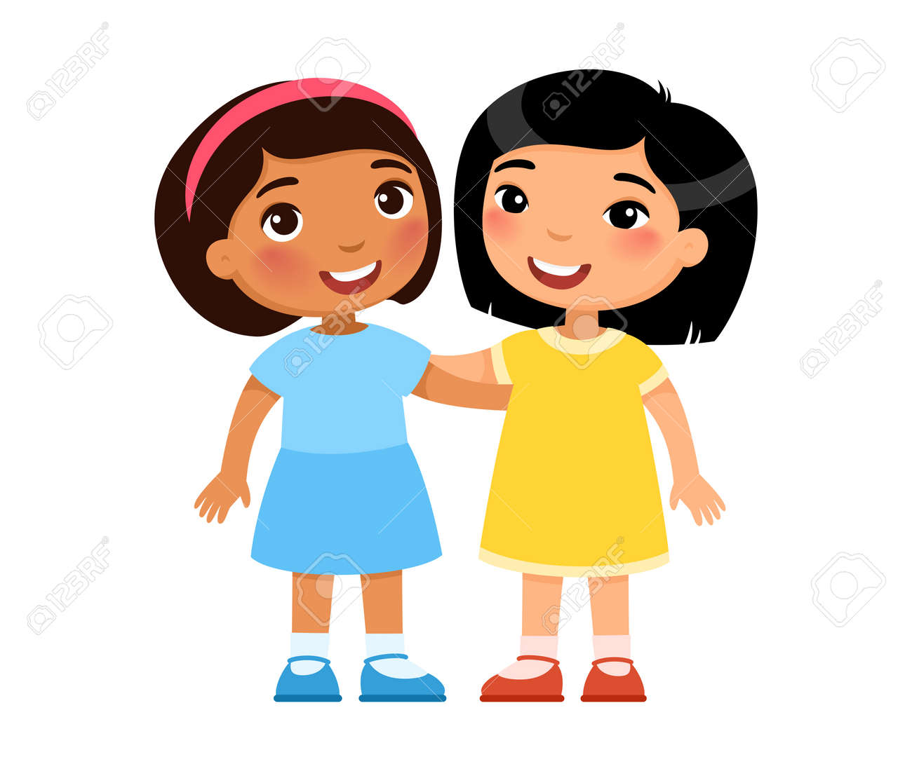 Two multiracial little girls hugging, cartoon characters. Smiling kids, Friendship concept. Vector illustration. - 170487280