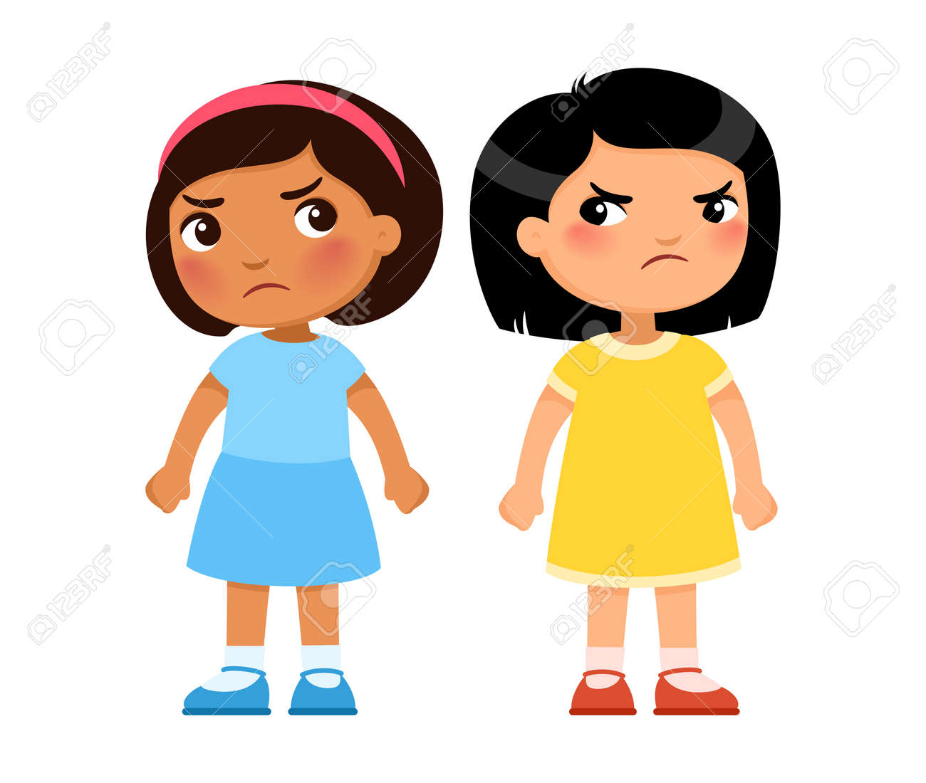 Two multiracial little girls look viciously at each other, cartoon characters. Angry children, enmity or rivalry concept. Vector illustration. - 170487278