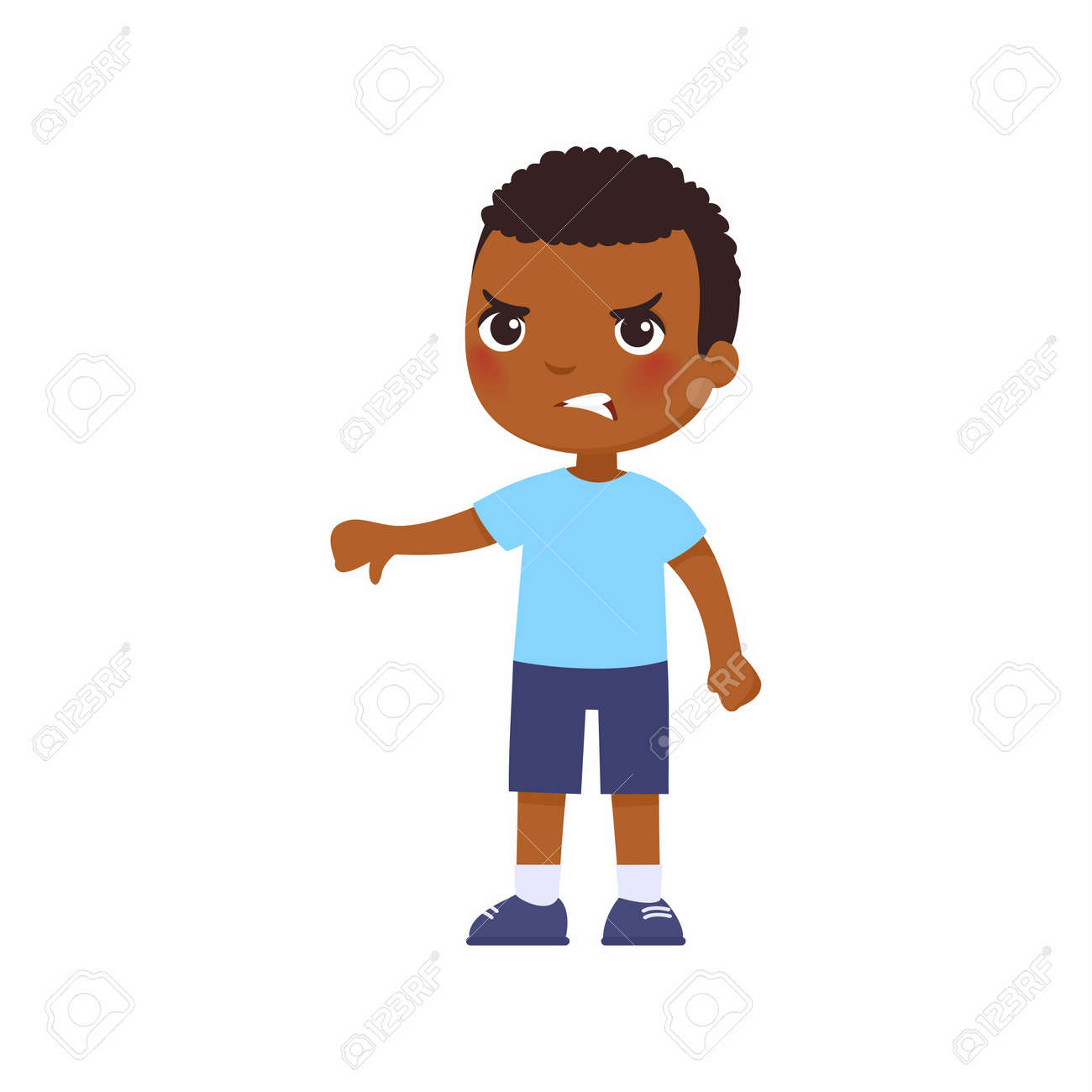 Little African boy showing thumb down gesture. Upset dark skin child standing alone cartoon character. Person negative emotion, disagreement expression - 170487279