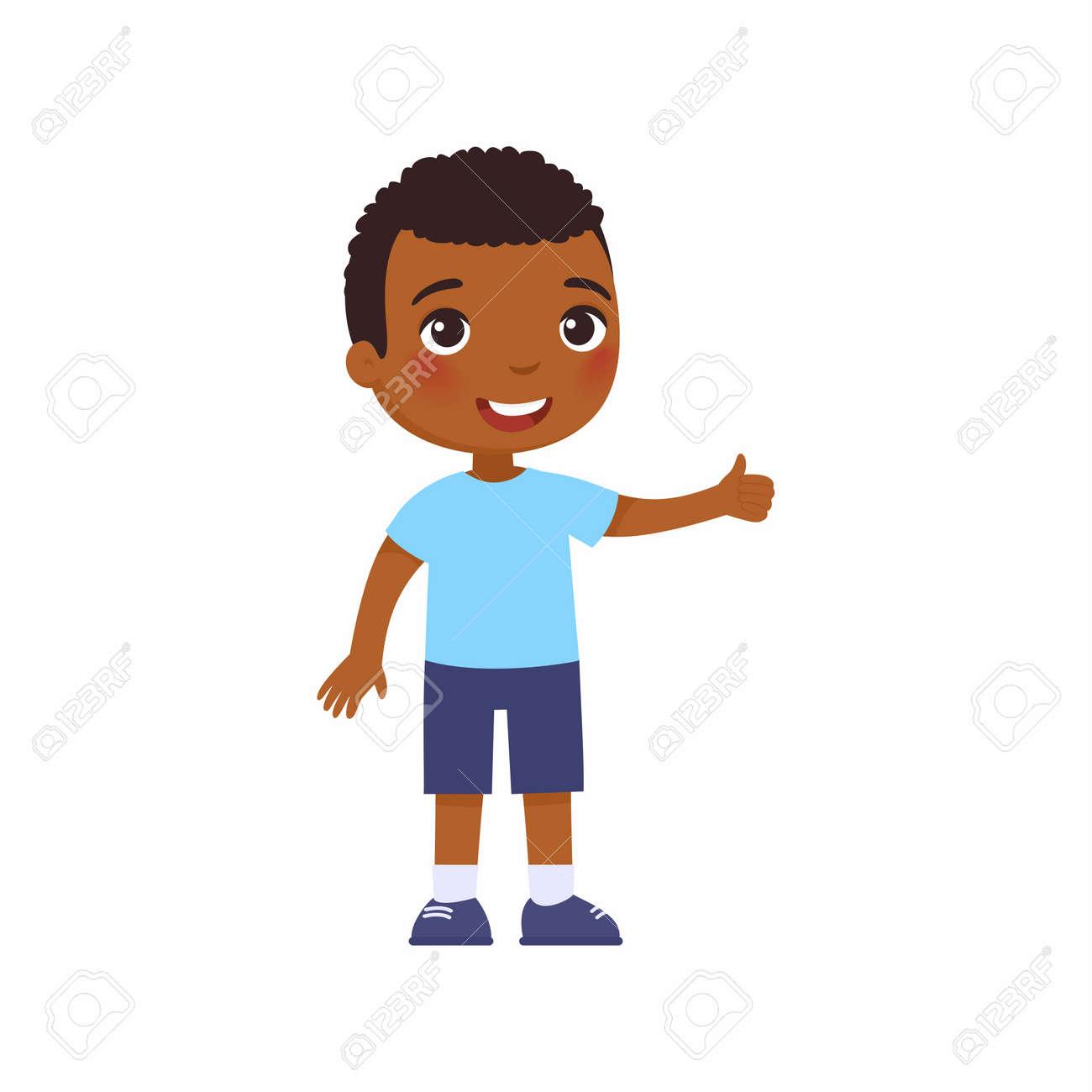 Cute African boy showing thumbs up gesture. Happy little kid, Smiling dark skin toddler, preteen child cartoon character - 170452511