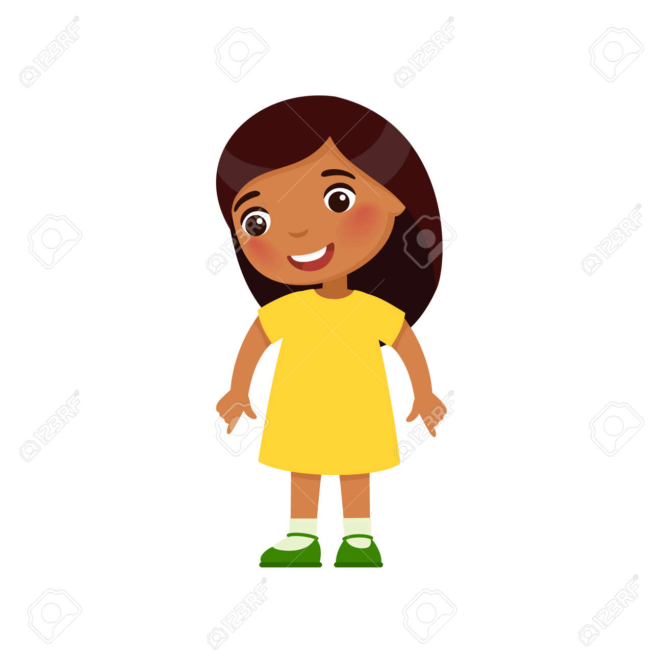 Little Indian girl looks down and shows of her fingers down. Dark skin cartoon character isolated on white background. Flat vector color illustration. - 170821132