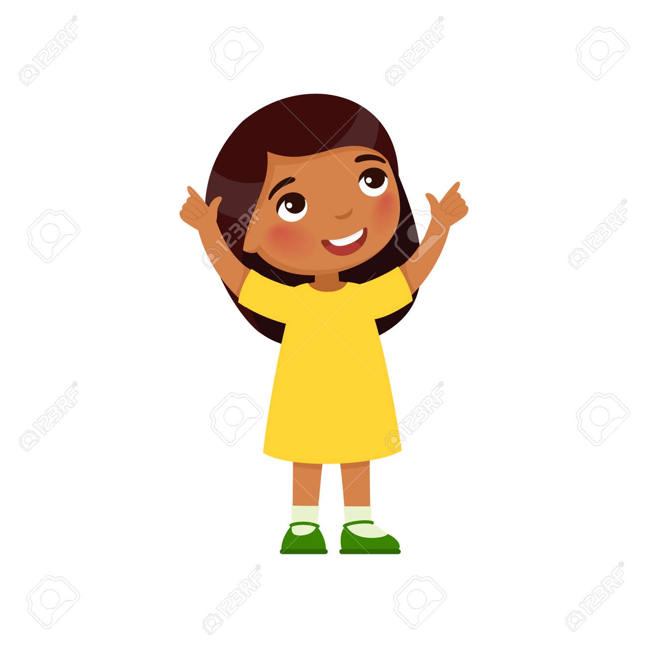 Little Indian girl looks up and shows her fingers up. Dark skin cartoon character isolated on white background. Flat vector color illustration. - 170931959