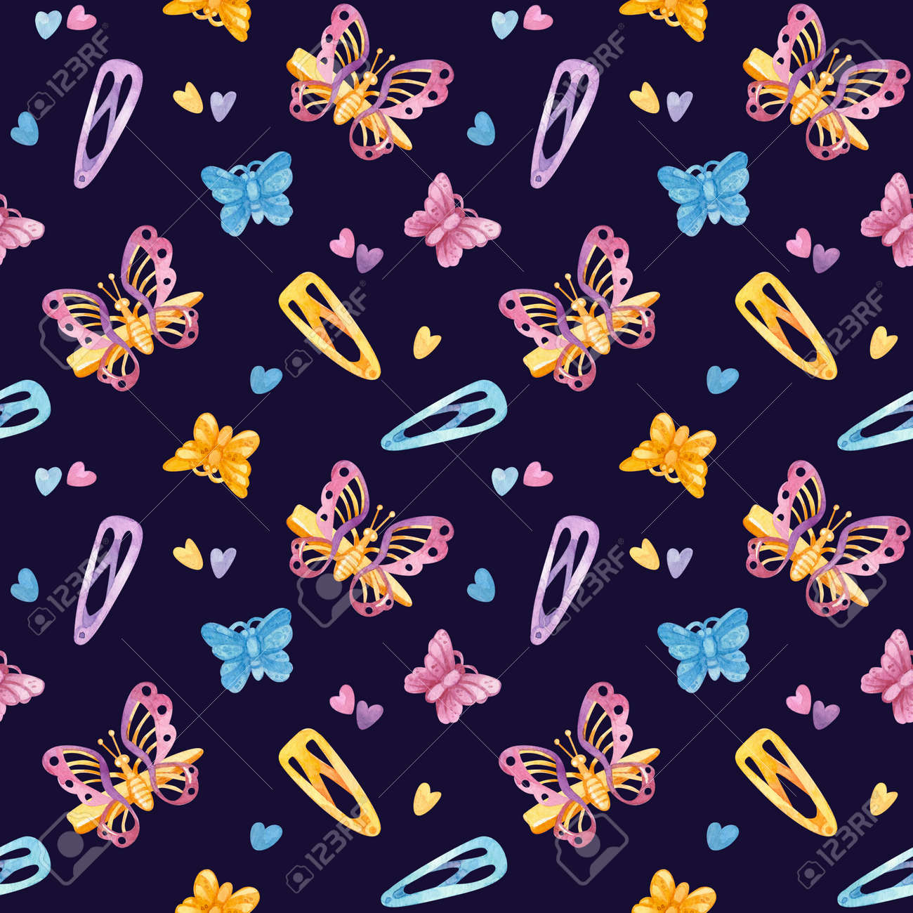 Retro seamless pattern. 90s toys,butterfly hairpins, hairpins, hearts. Watercolor girlish clipart on dark background. - 171662291