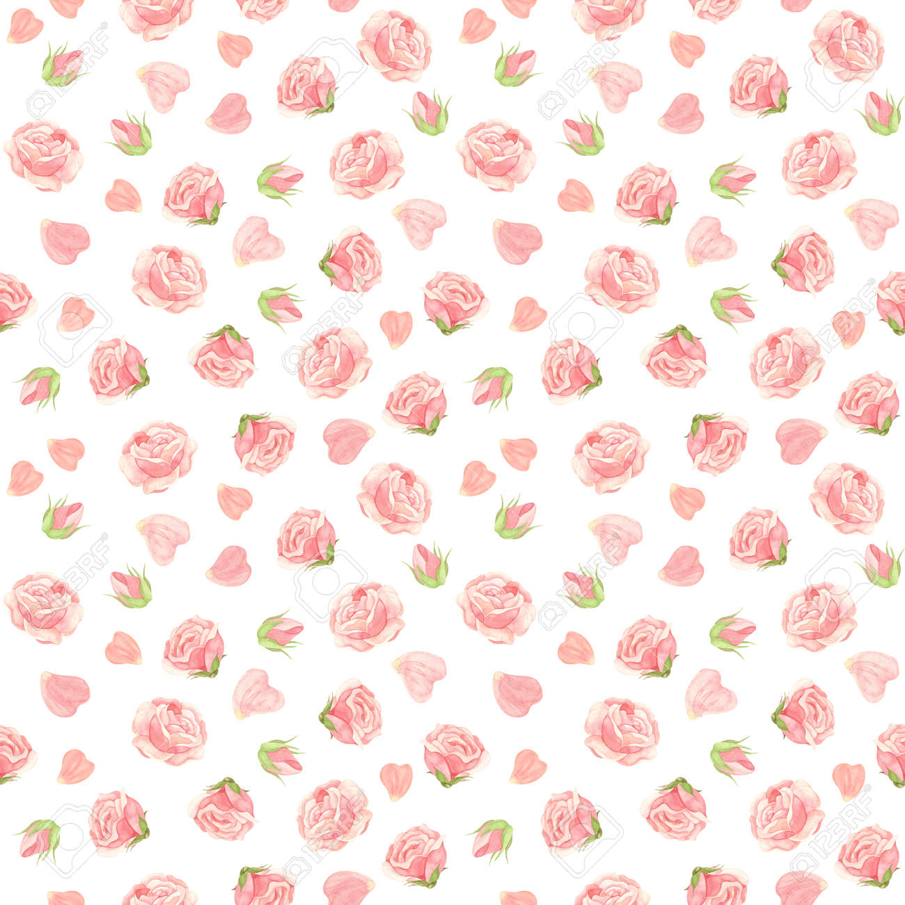 Pink roses seamless pattern. Flowers, buds and rose petals. Floral background in vintage style. Watercolor clipart. - 171478274