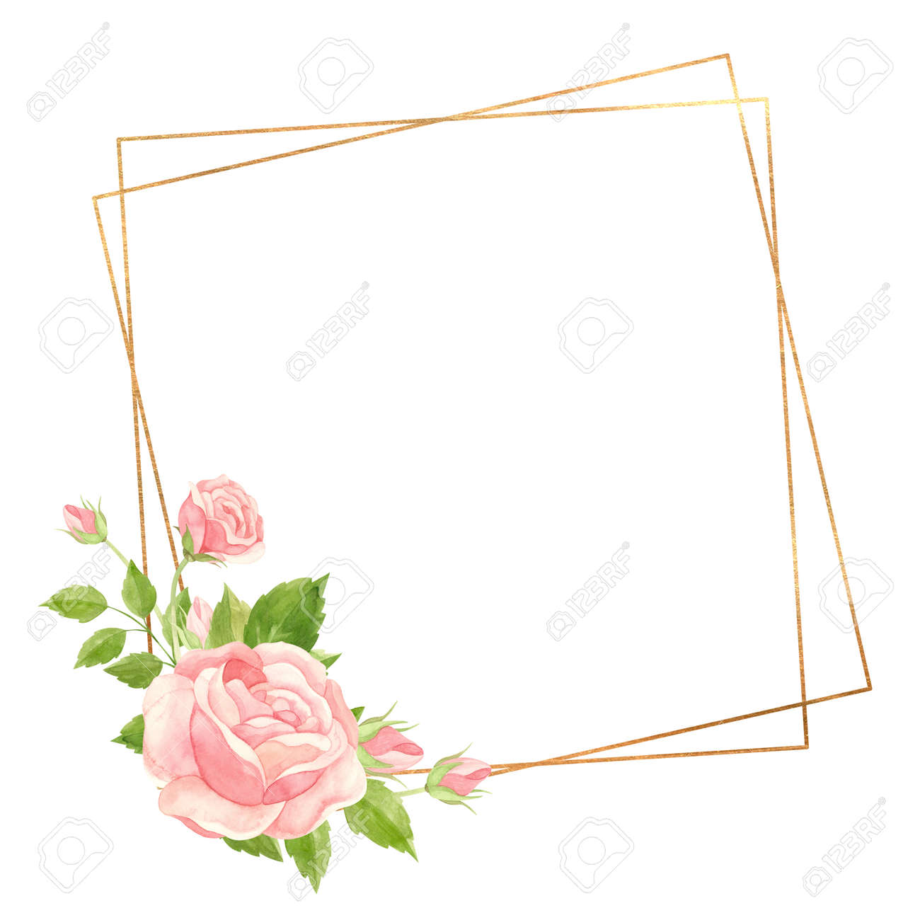 Square frame with pink roses and gold geometric frame. Floral template for wedding invitations, Valentine's Day postcards, posters, banners. Watercolor clipart on white background - 171757423