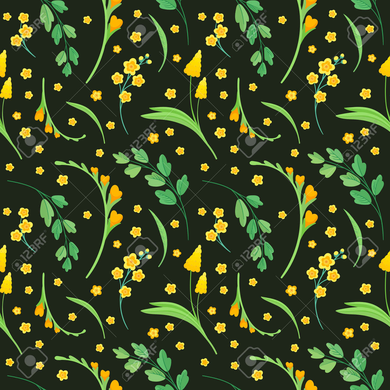 Yellow flowers and leaves seamless pattern. Blossoms floral decorative backdrop. Blooming spring plants. Vintage textile, fabric, wallpaper design on a dark background - 172490652