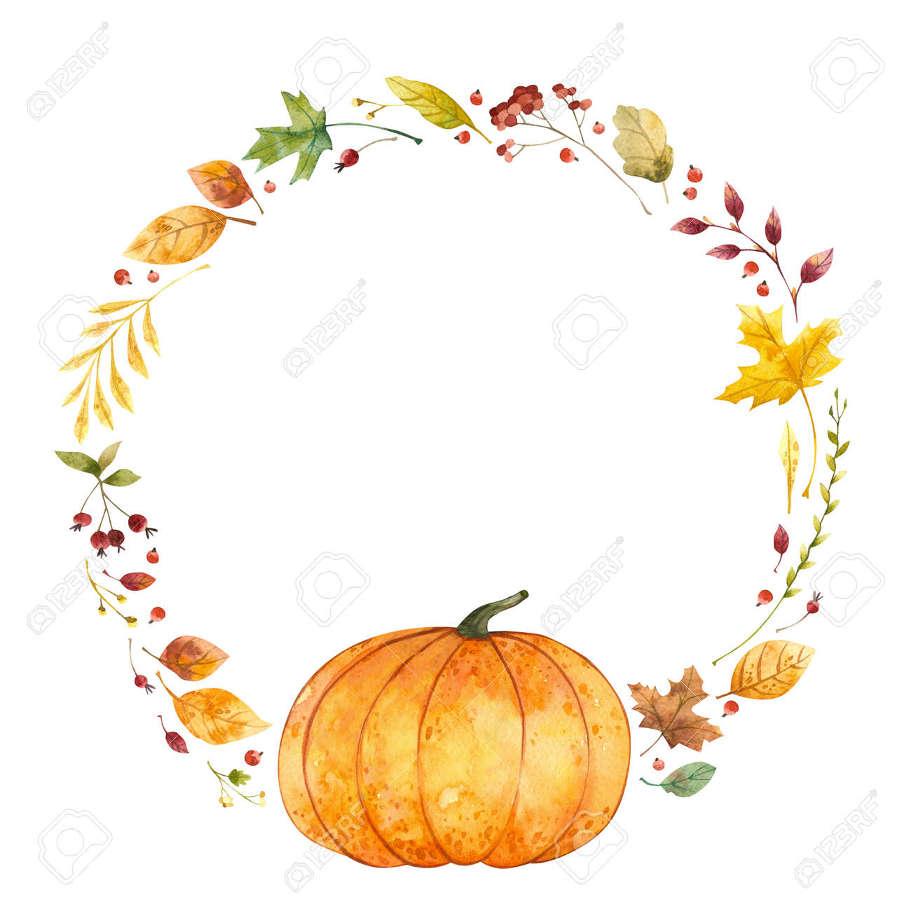 Watercolor wreath with pumpkin and fall leaves. Autumn, Thanksgiving Day. - 172490659