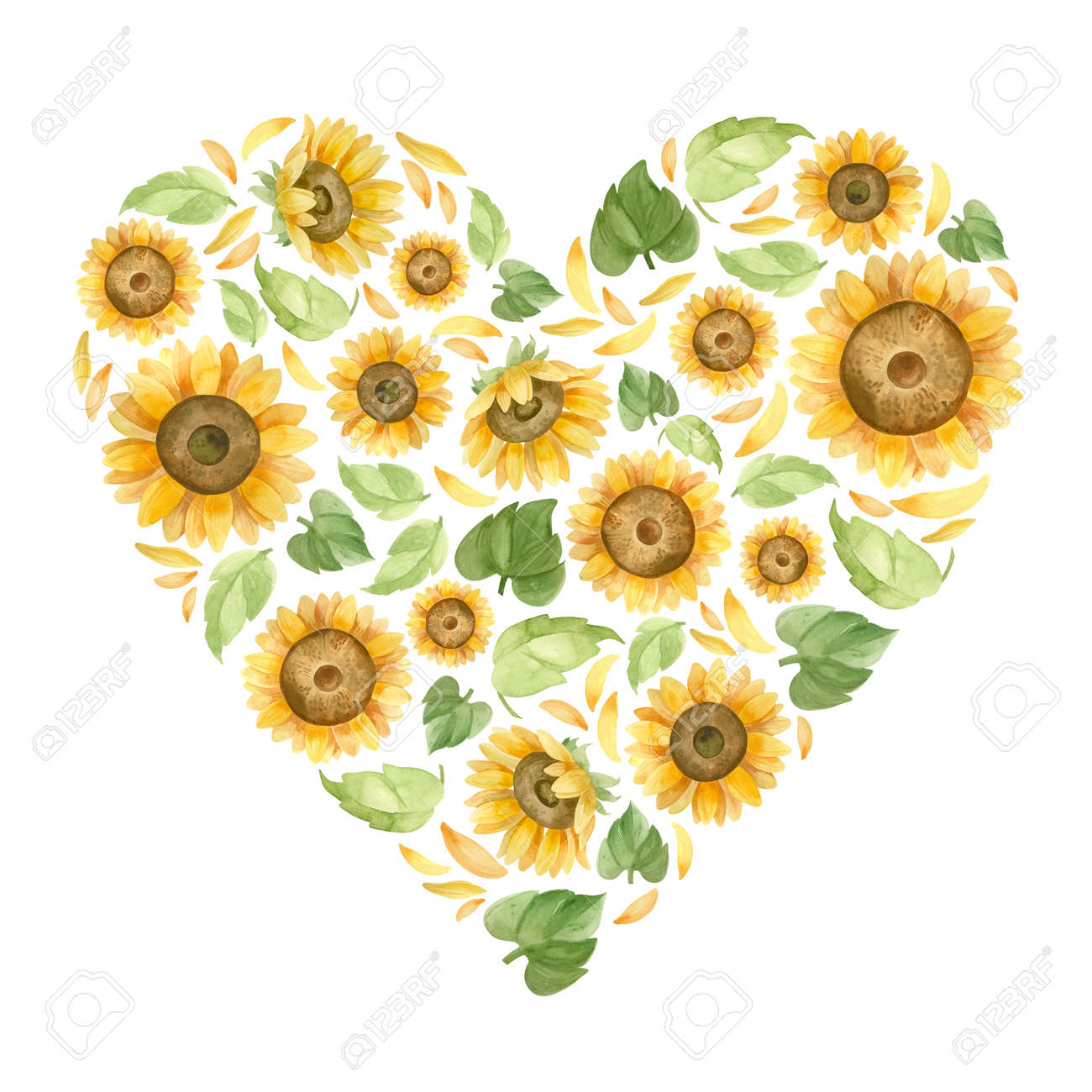 Heart with sunflowers. Template for a wedding invitation. Romantic watercolor clipart. - 173083453