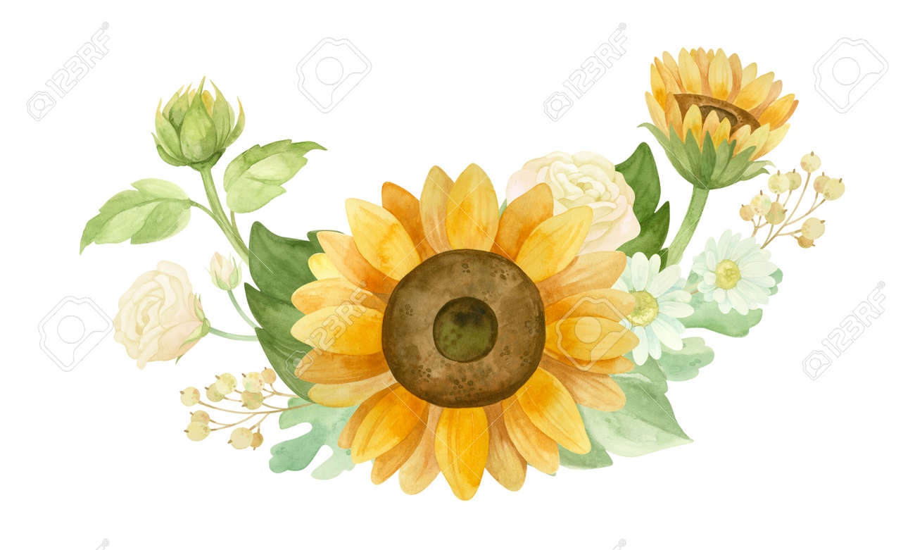 Sunflowers, white roses and chrysanthemums - flower arrangement for wedding invitation and decoration. - 173231001