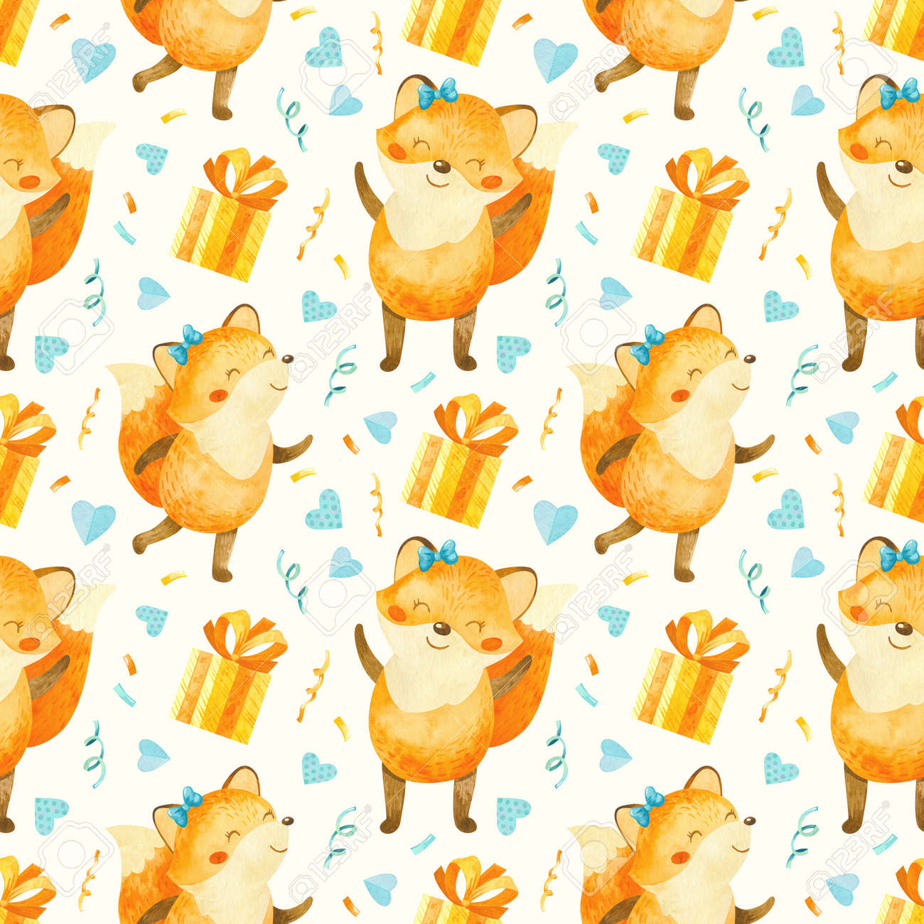 Seamless pattern with happy fox cub with gifts, birthday elements. Cute watercolor clipart for children's party decoration, baby showers. Seamless backdrop on white background - 173442230