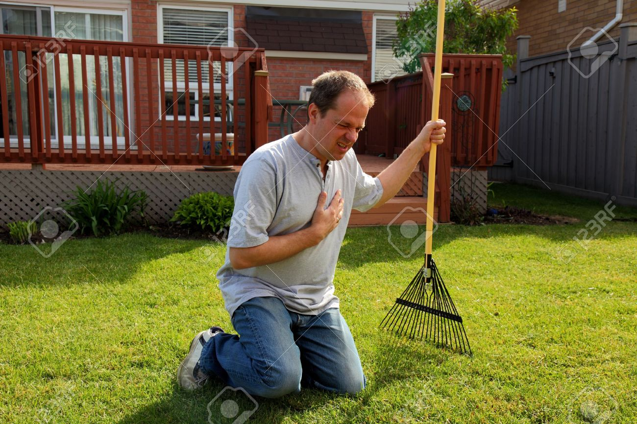 man having a heart attack chest pains while doing yard work Stock Photo - 14282867