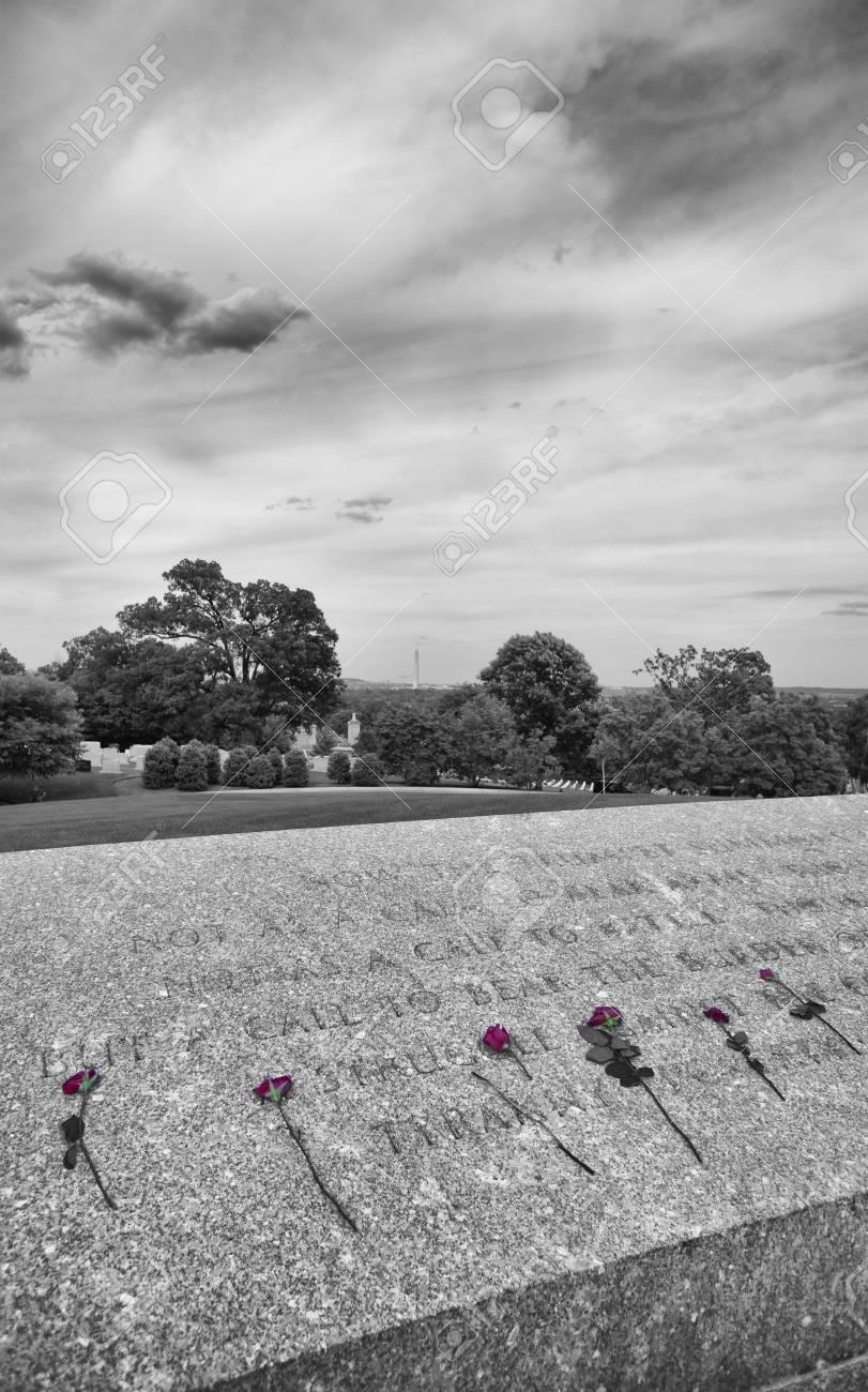Roses by JFK wall at Arlington National Cemetery - 38719103