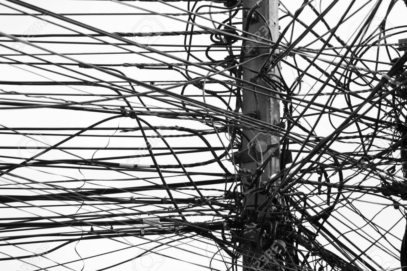 Electricity Post With Many Wire, Dreamy Color Background Stock Photo ...