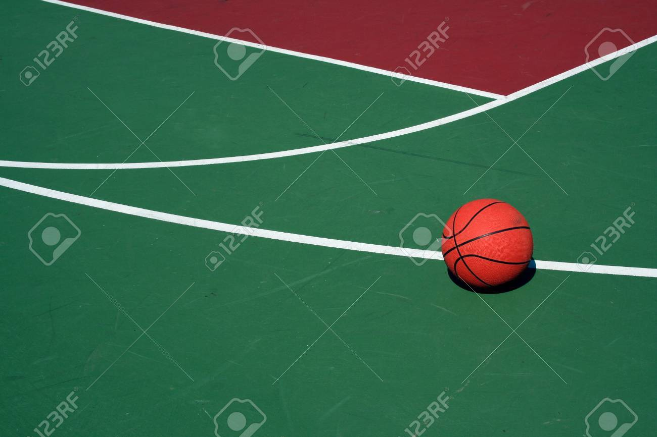 A Basketball at three point line on red and green court Stock Photo -  1788038 5da8df8b5357c