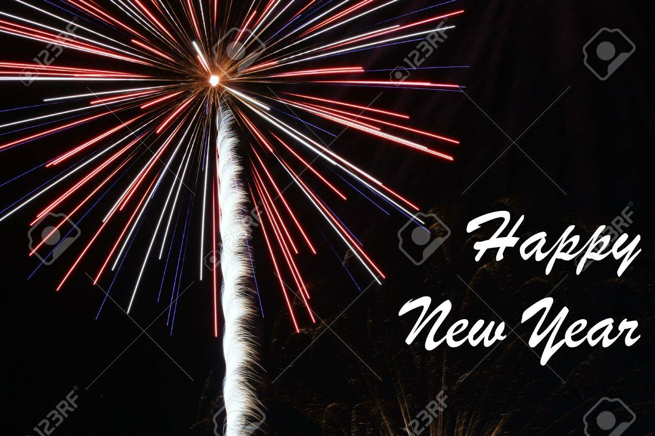 Happy New Year exploding fireworks at night Stock Photo - 2241669