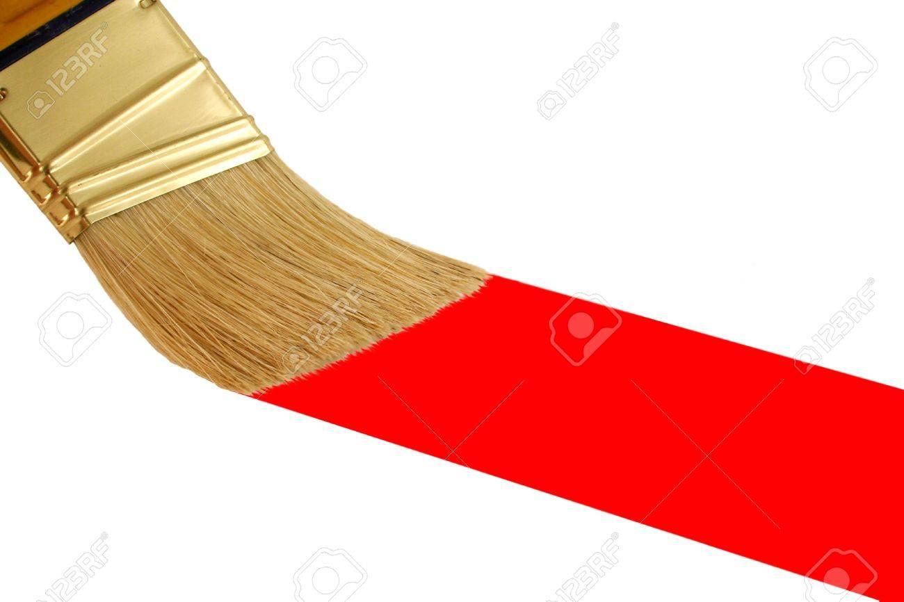 pincel pintando. un aislados pincel pintando una raya roja foto de archivo - 2689293 n
