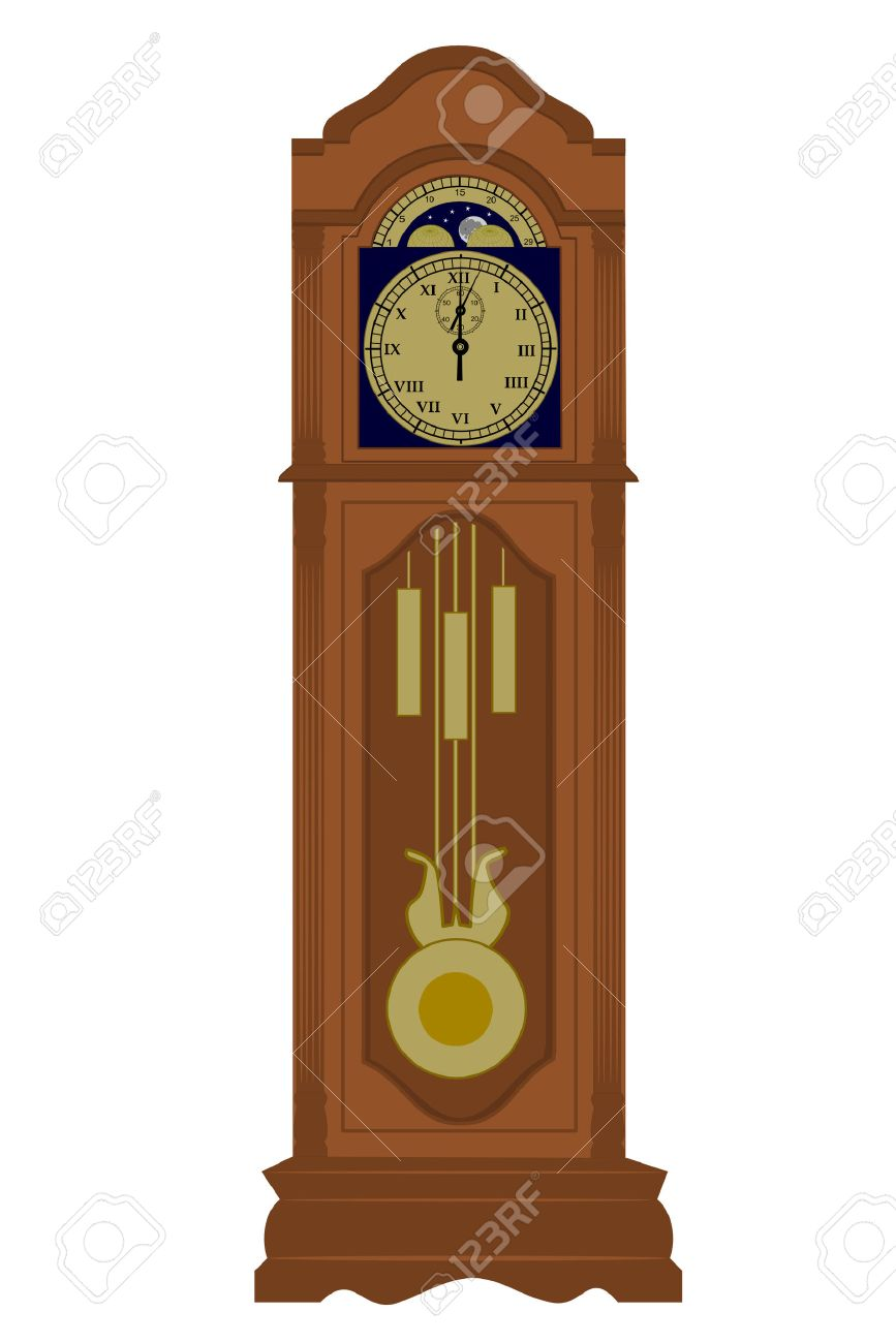 a grandfather clock with date royalty free cliparts vectors and rh 123rf com grandfather clock face clipart grandfather clock clip art free