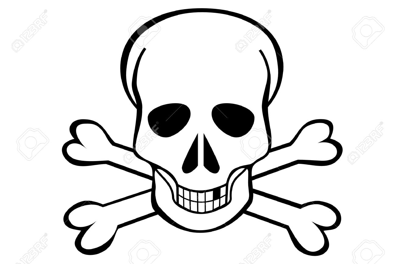 A Skull and crossbones on white background Stock Vector - 4225164