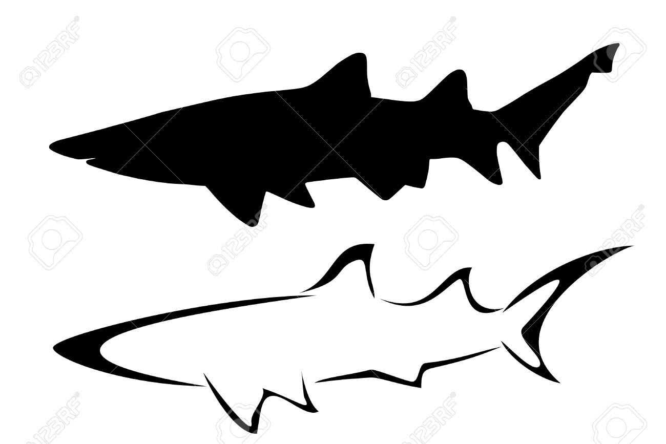 ae183f8f0 Set Of Two Tribal Shark Tattoos Royalty Free Cliparts, Vectors, And ...