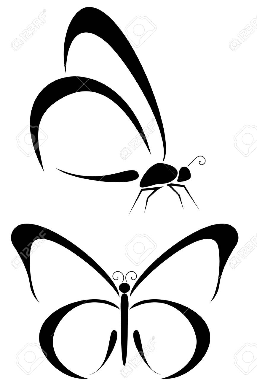 Set of two tribal butterfly tattoos Stock Vector - 4263099