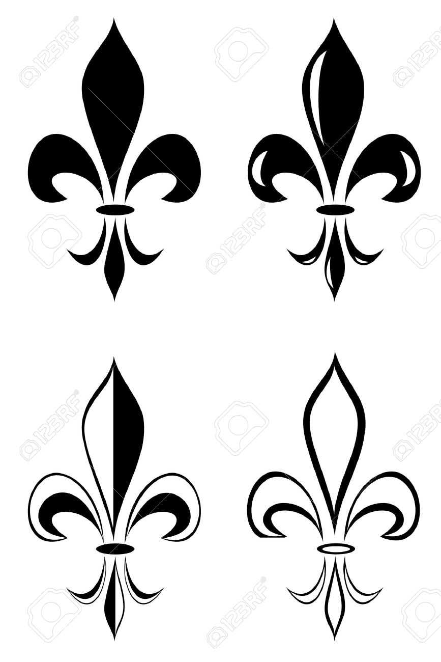 A Fleur De Lis Tribal Tattoo Set Royalty Free Cliparts Vectors And