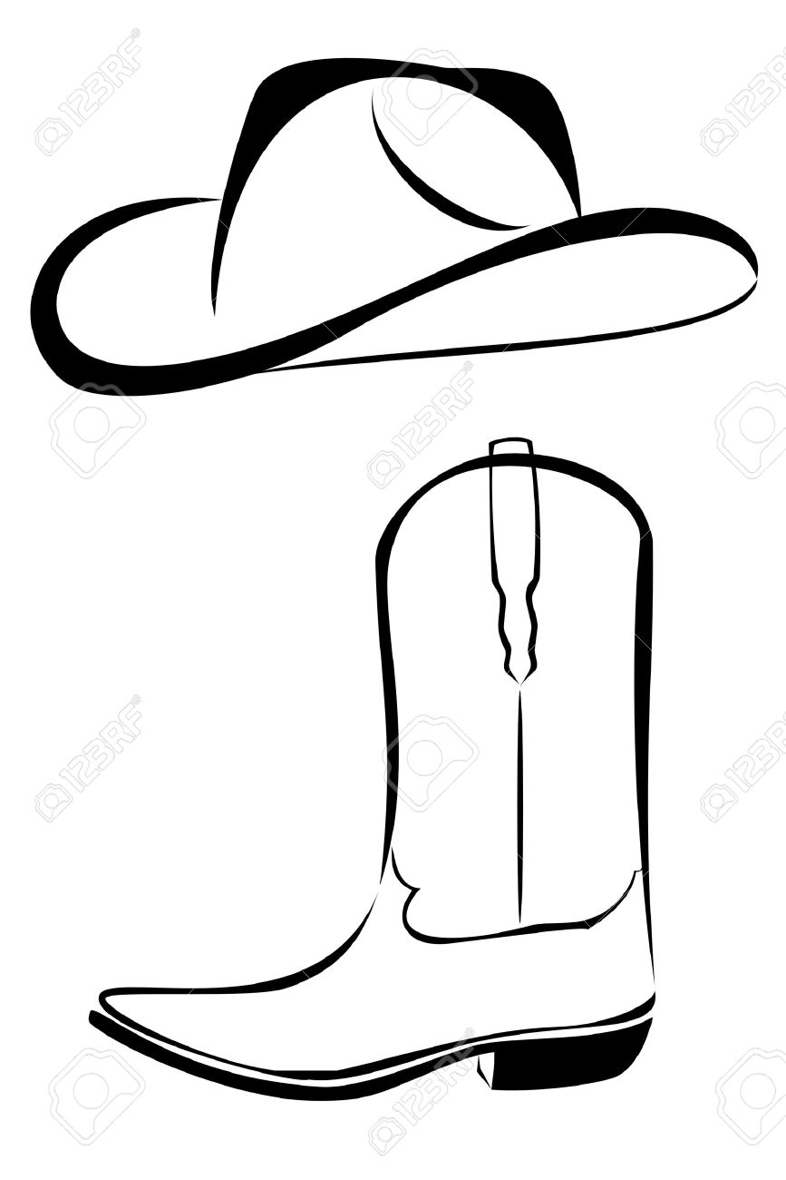 A Tribal Western Set Cowboy Hat And Boot Tattoo Royalty Free ...