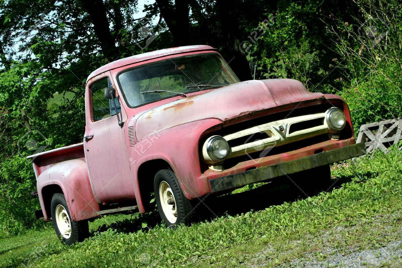 A Vintage Red Pickup Truck Stock Photo, Picture And Royalty Free ...