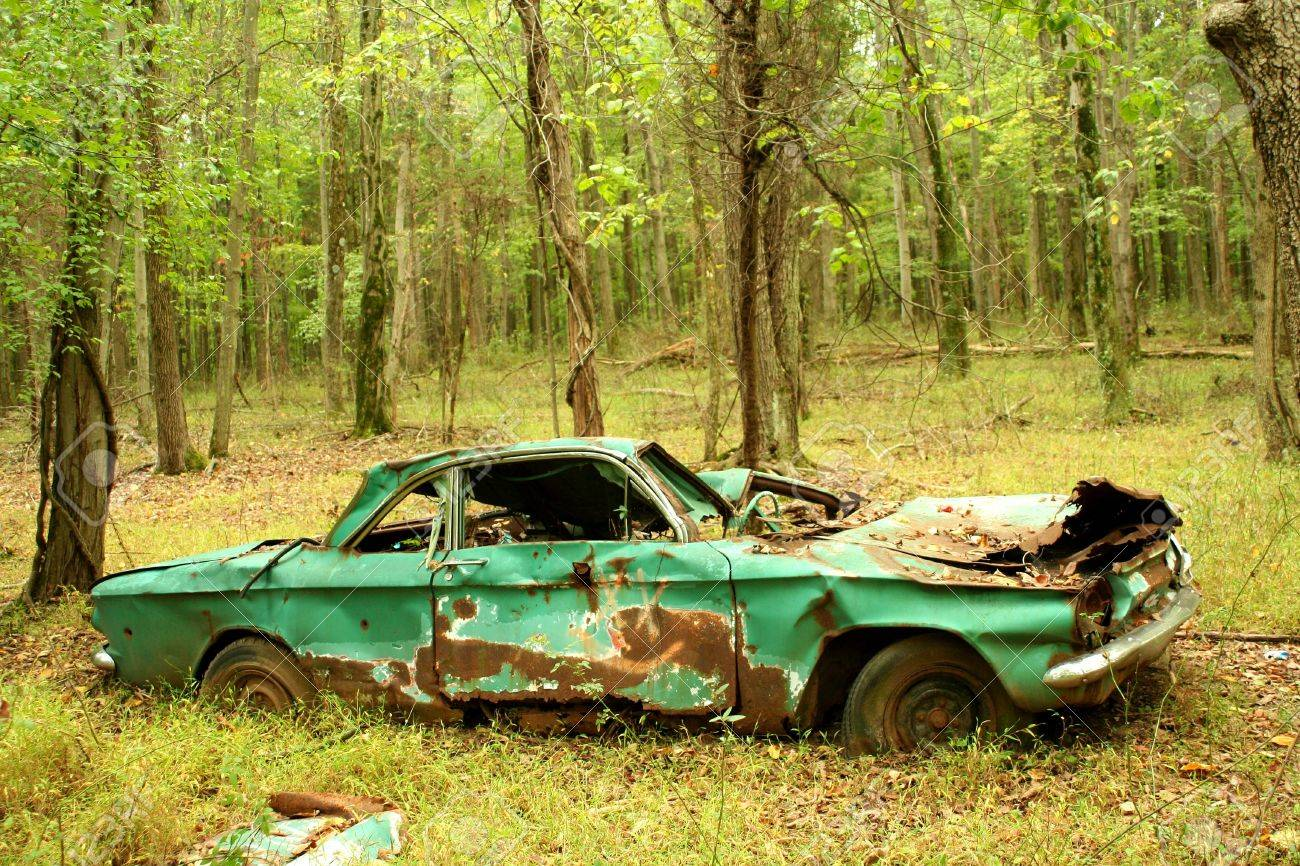 a abandoned car in the woods stock photo 7978459