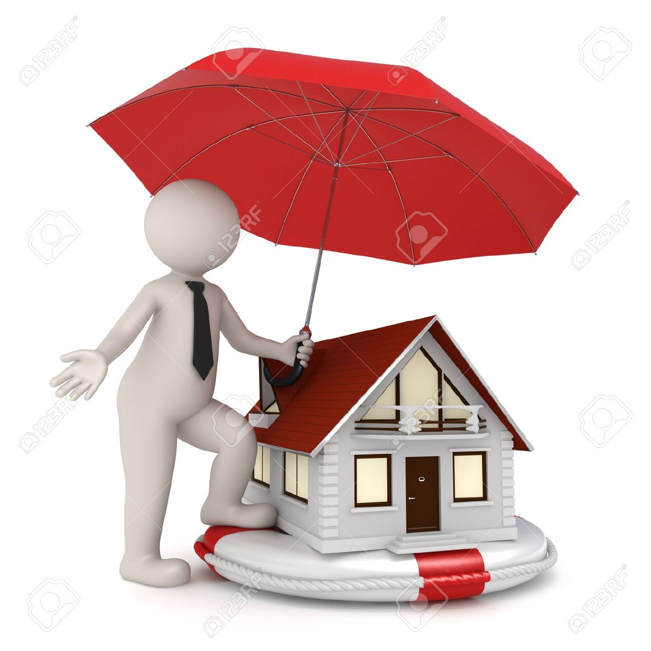 3d illustration of house protection with a white 3d guy holding an umbrella over a house on a lifebuoy - Isolated Stock Illustration - 10788728