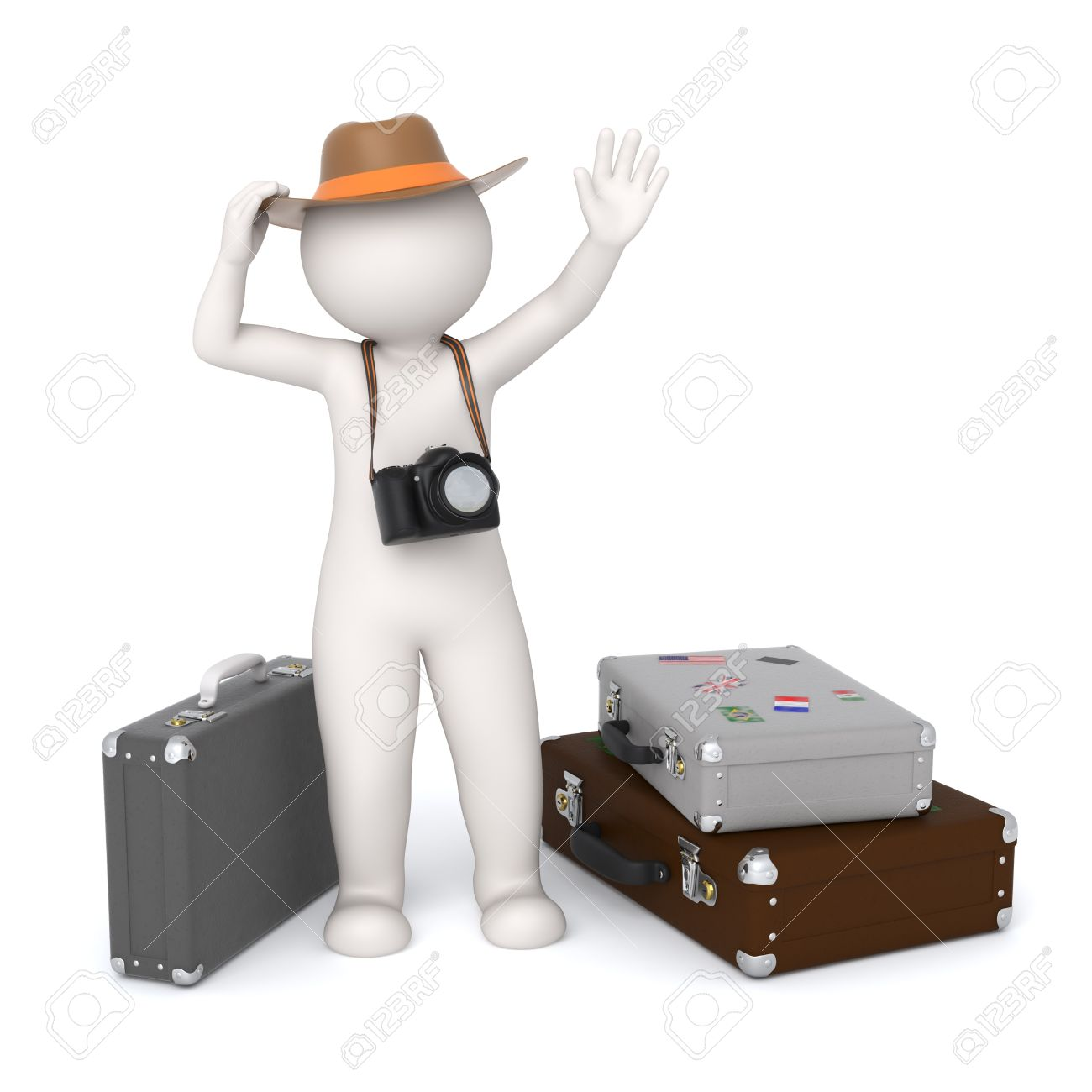 3d rendered white tourist with a digital camera waiting near his baggages and waving - Isolated Stock Photo - 10824428