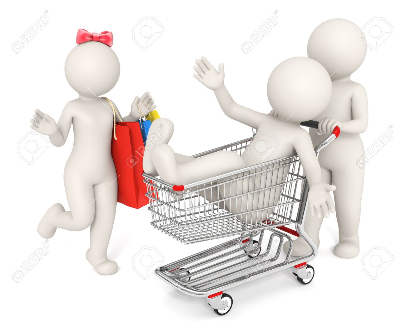 3d rendered happy people with shopping cart and bag isolated on white background - Shopping concept Stock Photo - 10824497