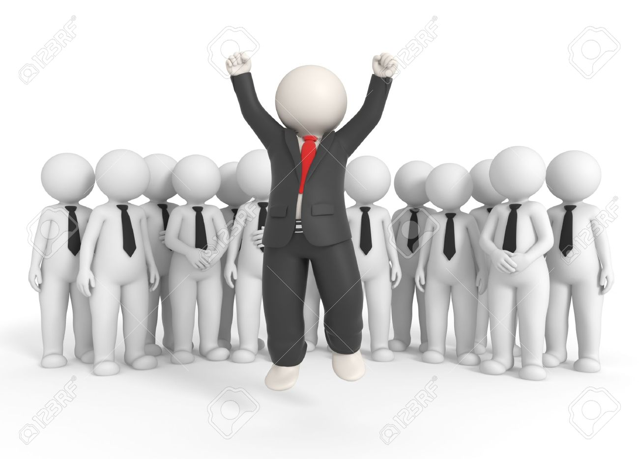 3d rendered successful boss jumping high in front of his team - Isolated Stock Photo - 10824410
