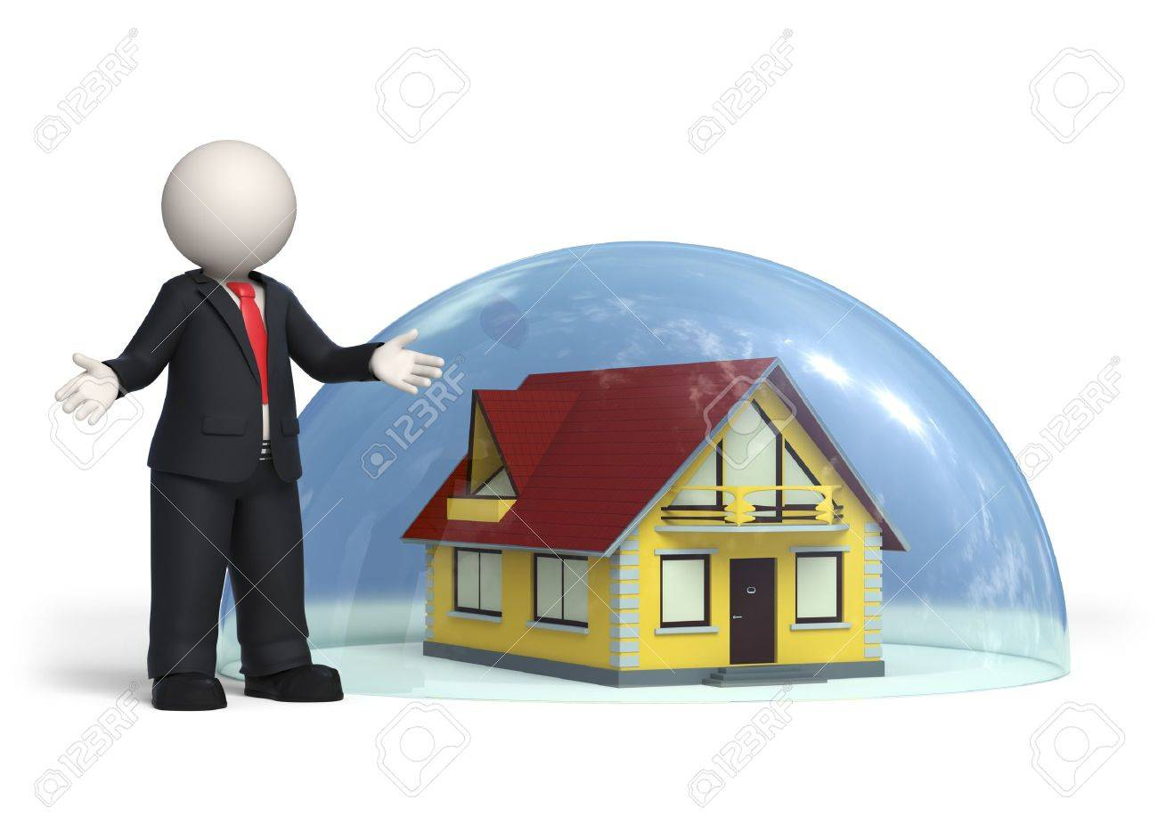 3d business man standing near house covered with a glass hemisphere - Insurance, protection concept - Isolated Stock Photo - 10821656