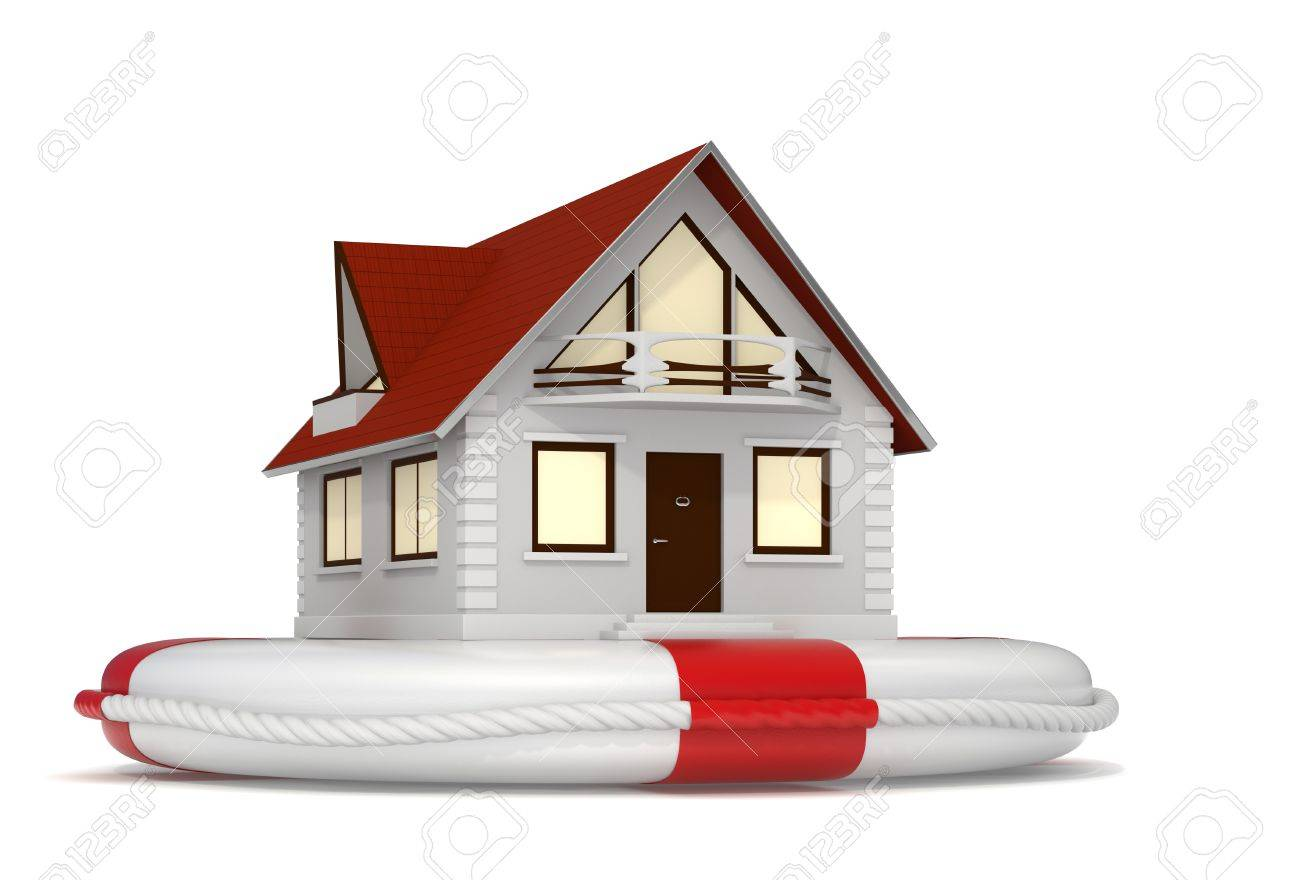 3d rendered nice detailed house sitting on a white lifebuoy representing house insurance - Isolated Stock Photo - 10824431