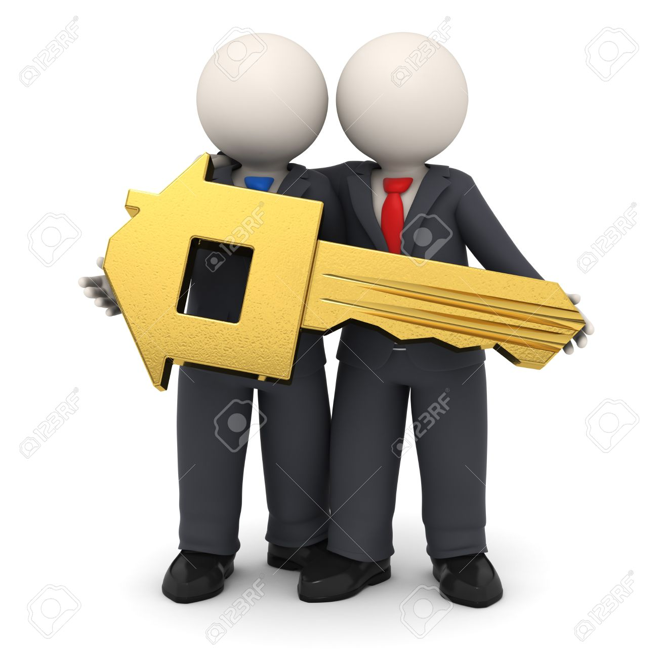 With golden key 3d rendering plan concept with golden key 3d rendering - 3d Rendered Business Partners In Black Suit Holding A Gold House Key In Their Hands