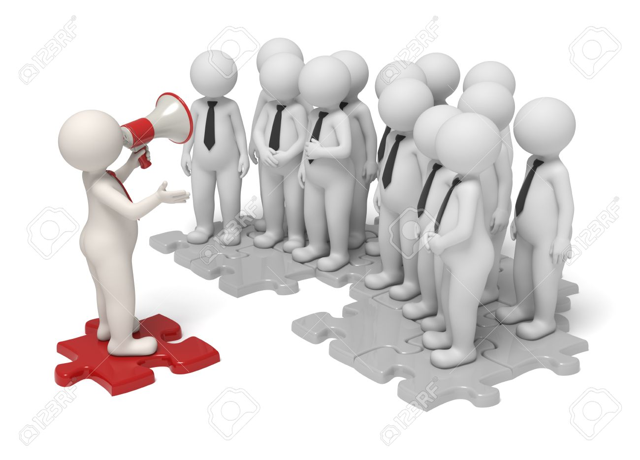 team leader stock vector illustration and royalty team team leader 3d leader making an announcement a red megaphone to his team