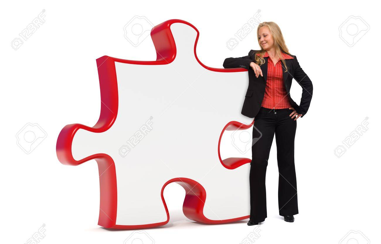 Business solutions puzzle board and a young business woman Stock Photo - 10865390