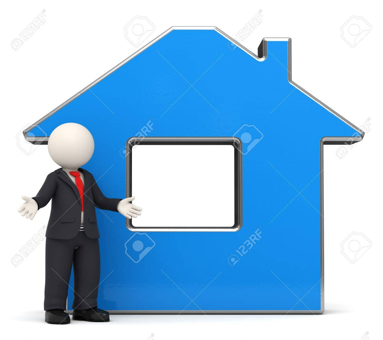 3d rendered white business man in a black suit presenting a blue house Stock Photo - 11035950