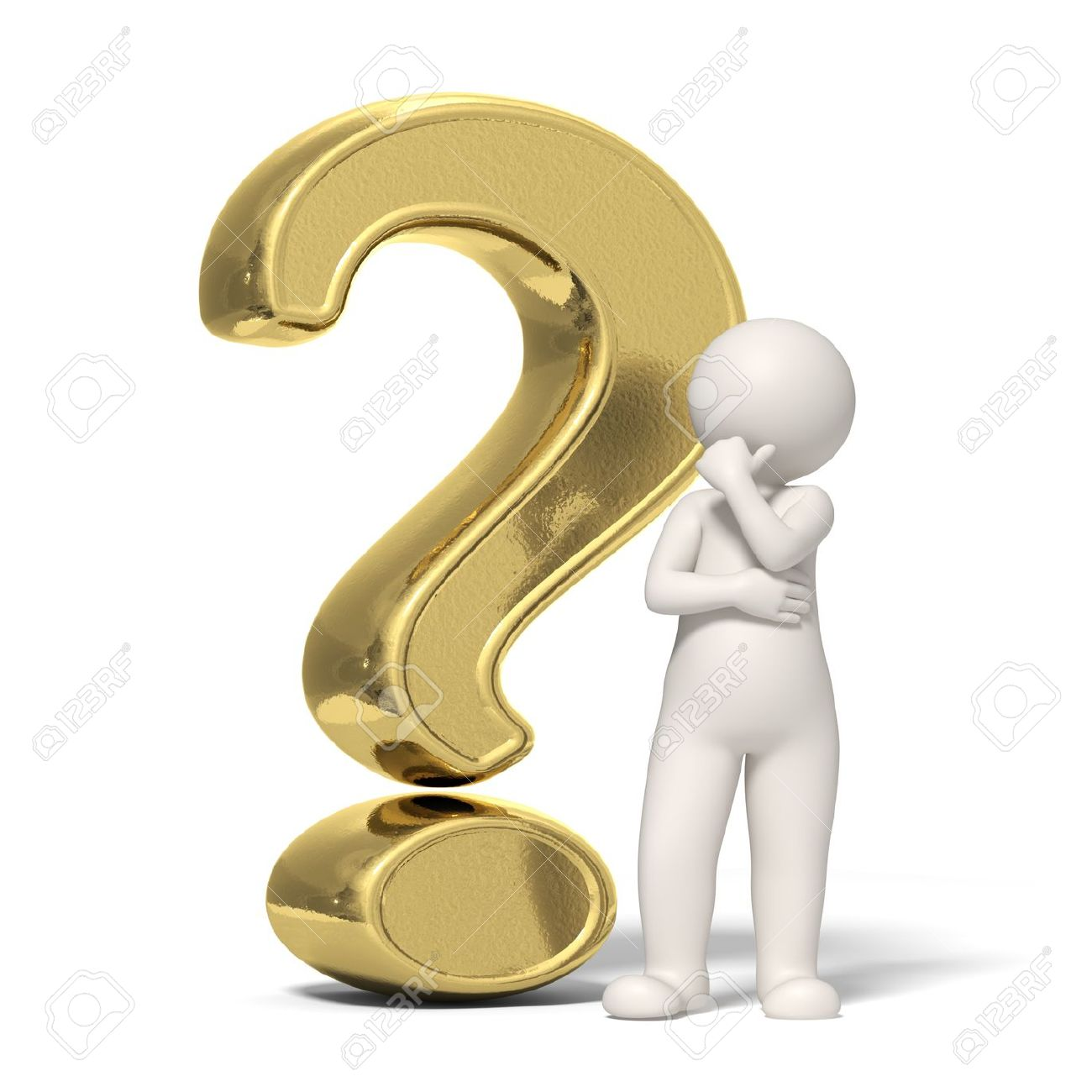 3d guy thinking in front of a big gold question mark - Isolated icon Stock Photo - 11688411