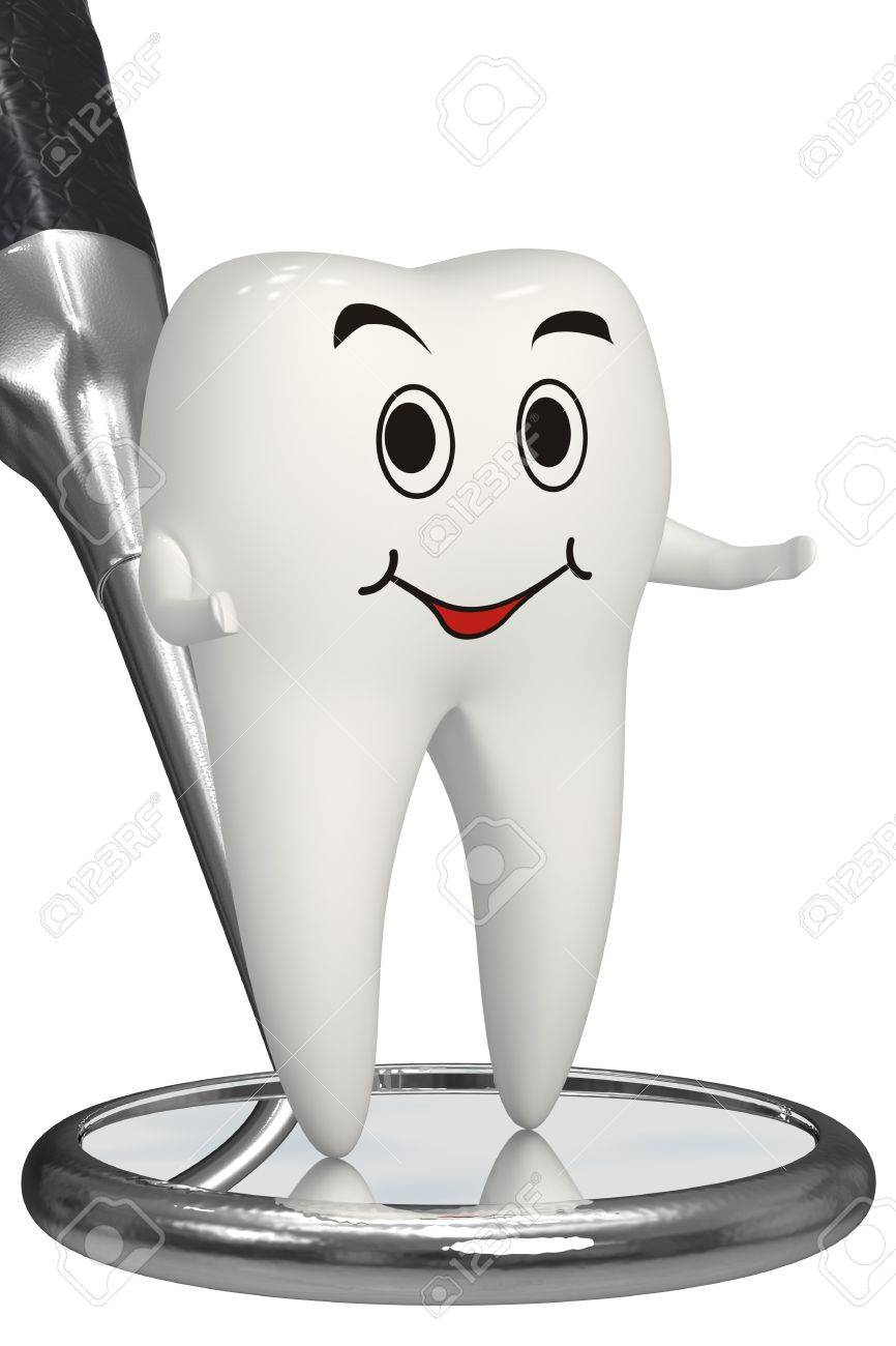 Happy tooth talking about dental inspection Stock Photo - 11688401