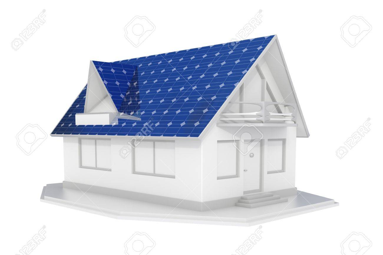 3d rendered white solar panel house islated Stock Photo - 11688404