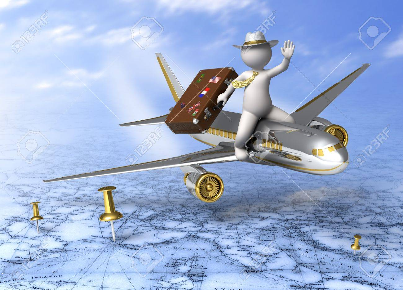 Holidays - 3d guy flying on a plane, carrying his suitcase - Tourism concept - 12181368